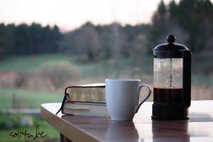 come away - Bible - coffee